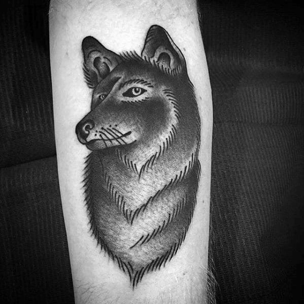 Forearm Traditional Old School Coyote Guys Tattoos