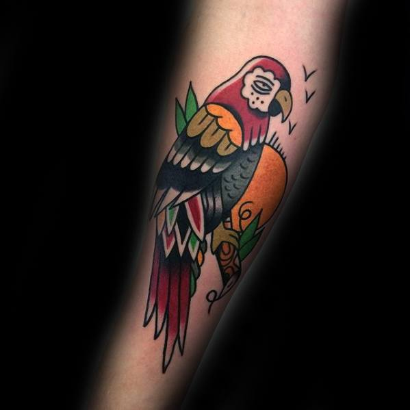 Forearm Traditional Parrot Male Tattoo Designs