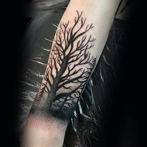 Forearm Tree Tattoo With Black Ink Branches On Man