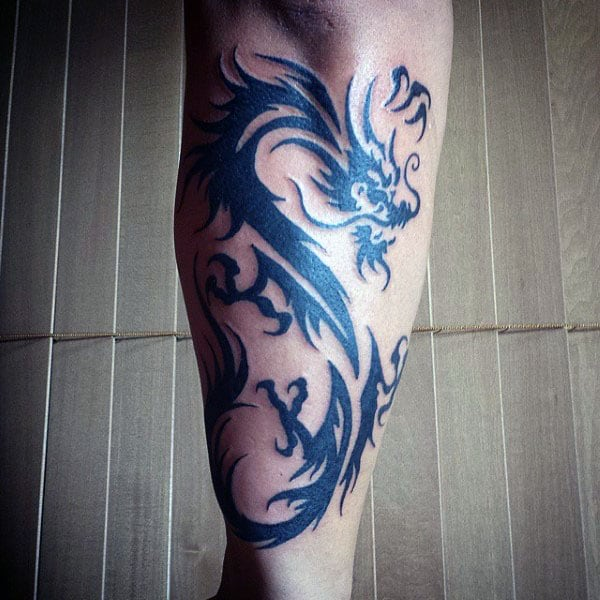 Forearm Tribal Dragons Tattoos On Guys