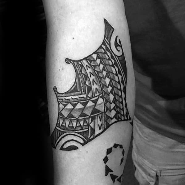 Forearm Tribal Incredible Manta Ray Tattoos For Men