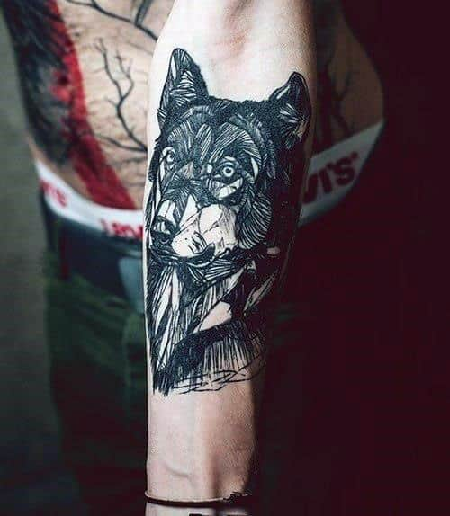 Forearm Tribal Wolf Tattoos For Men
