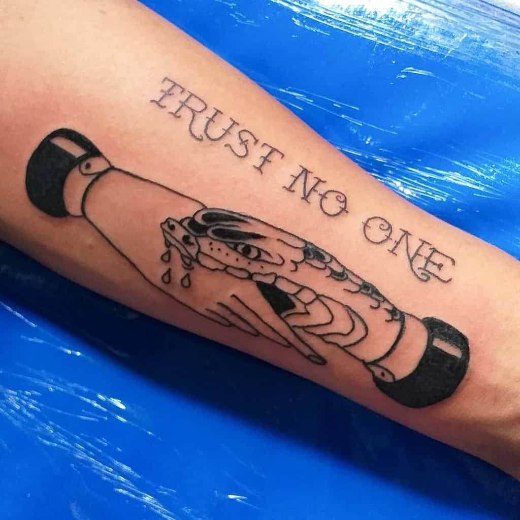 forearm trust no one tattoos otaviooliveiratattoo