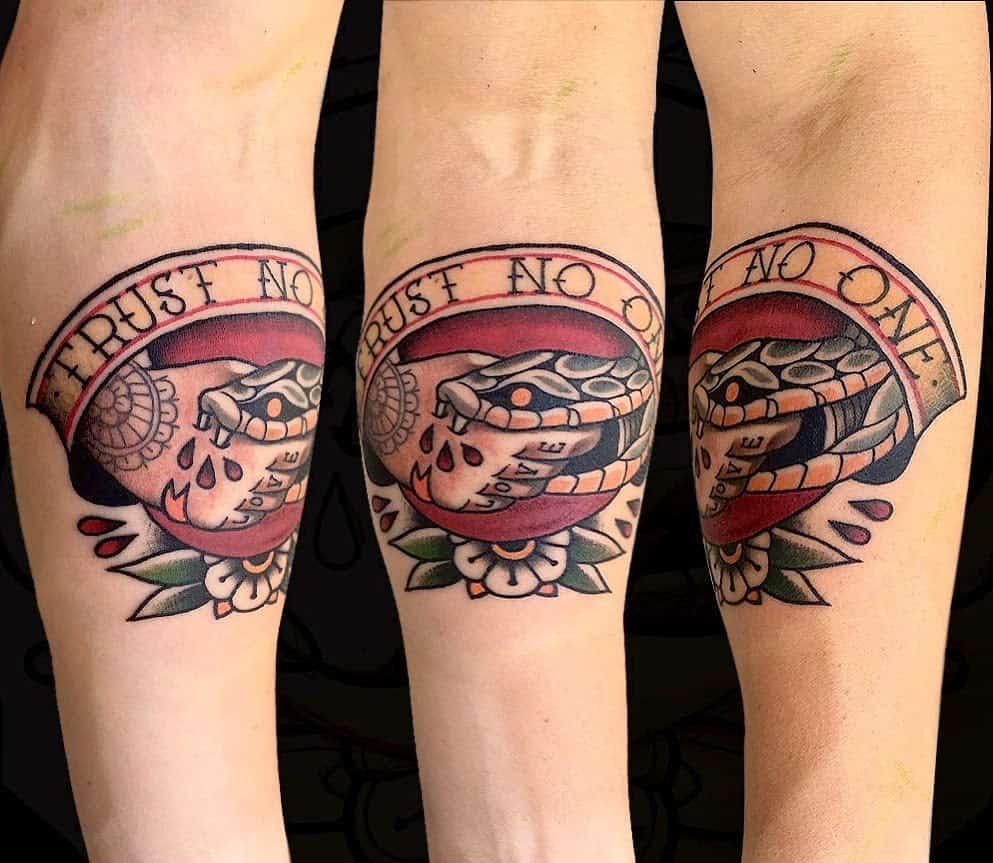 forearm trust no one tattoos rogerkampo