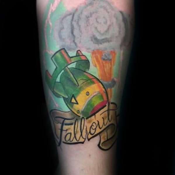 Forearm Video Game Fallout Tattoo Designs For Men