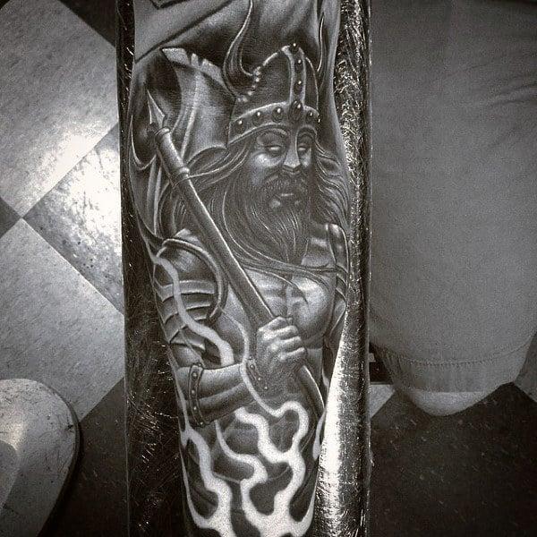 Forearm Viking Ship Tattoo For Men