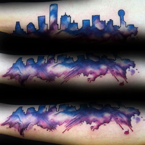 Forearm Watercolor Dallas Skyline Tattoo Designs For Guys