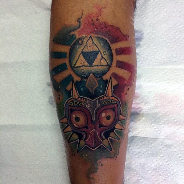 Forearm Watercolor Male Cool Majoras Mask Tattoo Ideas