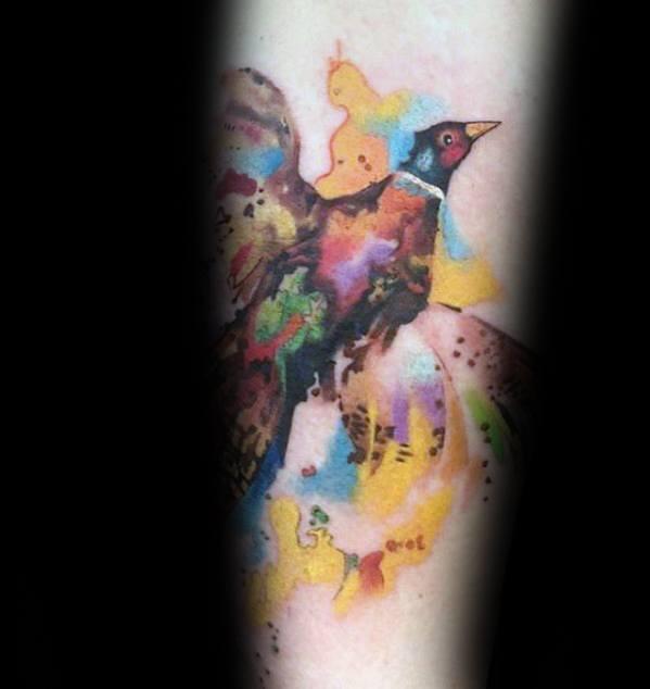 Forearm Watercolor Pheasant Bird Flying Mens Tattoo Designs