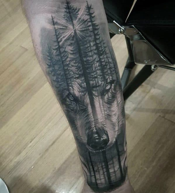 Forearm Wolf Forest Creative Morph Tattoos For Men