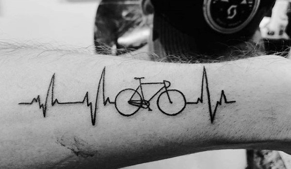 Forearms Bicycle Tattoo With Speed Waves Tattoo