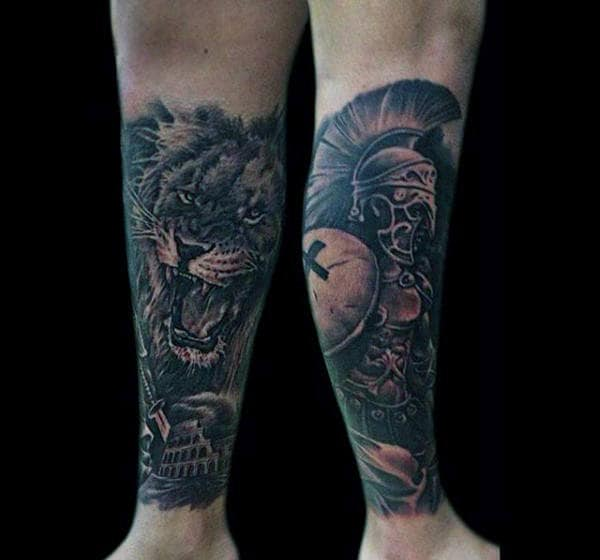 Forearms Male Beast And Aztec Warrior Tattoo