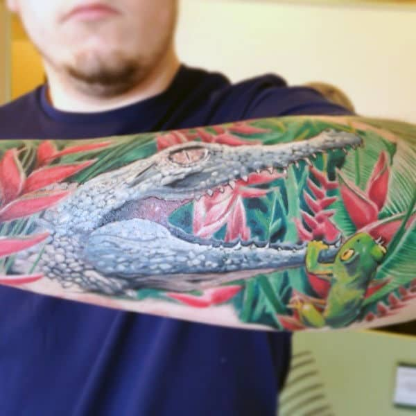 Forest Alligator Tattoo Males Sleeves