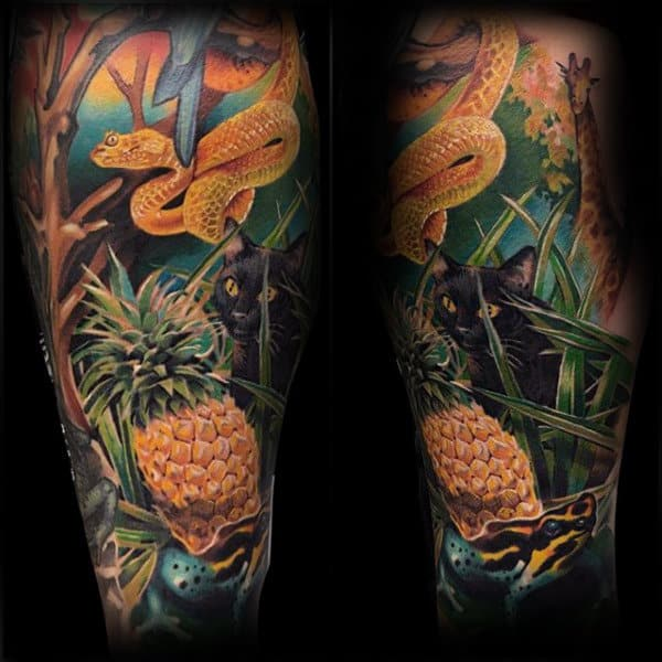 Forest Mens Frog Themed Sleeve Tattoo Design Ideas