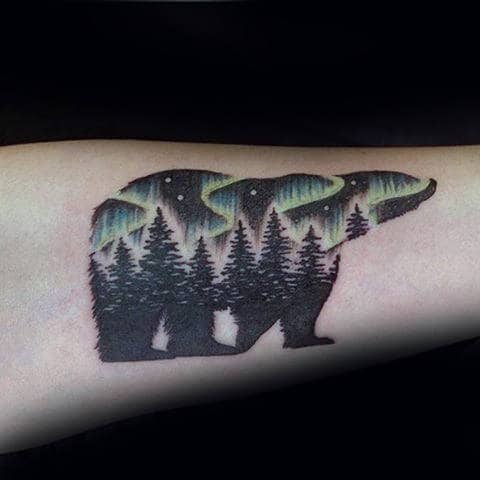 Forest Polar Bear With Northern Lights Mens Forearm Tattoo Designs