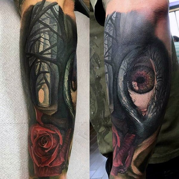 Forest Rose With Eye Awesome Mens Forearm Sleeve Tattoo Ideas