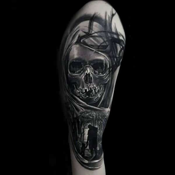 Forest Scene With Skull Detailed Mens Abstract Arm Tattoo Design Ideas