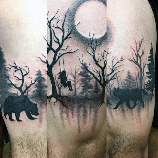 Forest Silhouette Mens Thigh Tattoos
