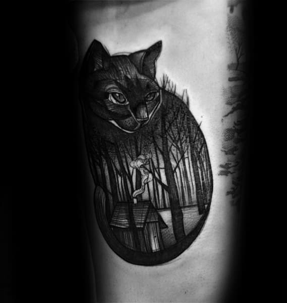 Forest Themed Cat Tattoos For Gentlemen