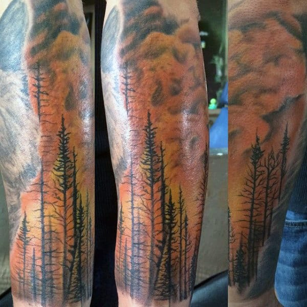 Forest Trees Flaming Guys Tattoos Sleeve