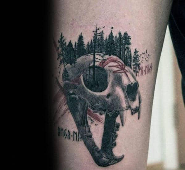 Forest Trees Lion Skull Guys Thigh Tattoo