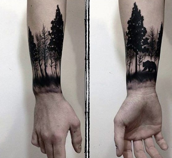 Forest With Bear Awesome Mens Wrist Tattoo