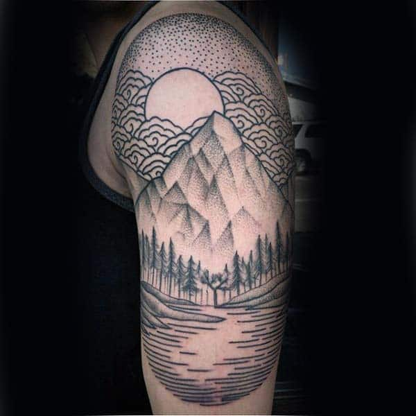 Forest With Mountain Mens Woodcut Half Sleeve Tatto Design Ideas