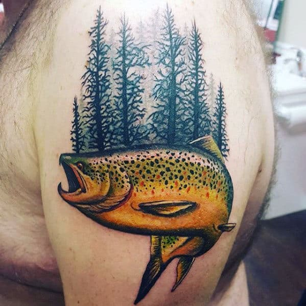 Forest With Trout Fish Mens Upper Arm Tattoo