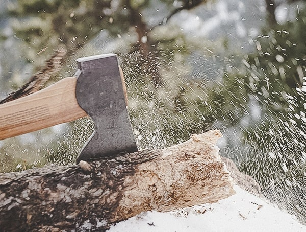 Foresters Axe Chopping Into Wood Log Hults Bruk Review