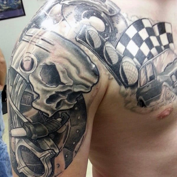 Forged Piston Design For Male Tattoos On Shoulder