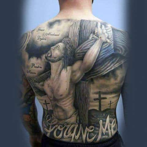 Forgive Me Jesus Cross Guys Full Back Tattoo Design Ideas