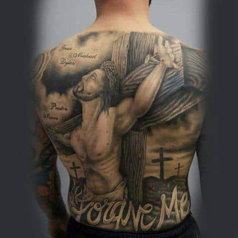 Forgive Me Jesus On Cross Mens Full Back Tattoo