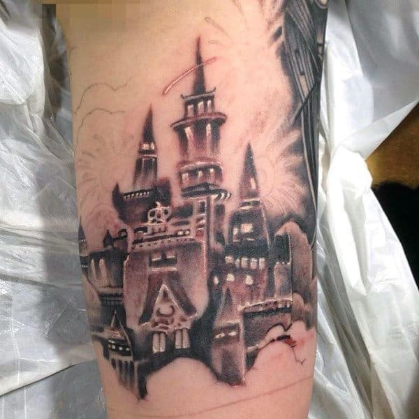 Fort Castle Tattoo Design On Mans Arm