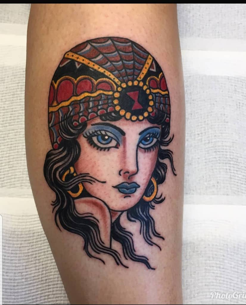 Fortune Teller Colored Gypsy Tattoo