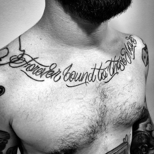 Forver Bound To Those Love Chest Quote Guys Tattoos