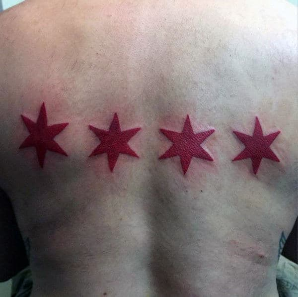 Four Red Stars Mens Chicago Flag Back Tattoo Design
