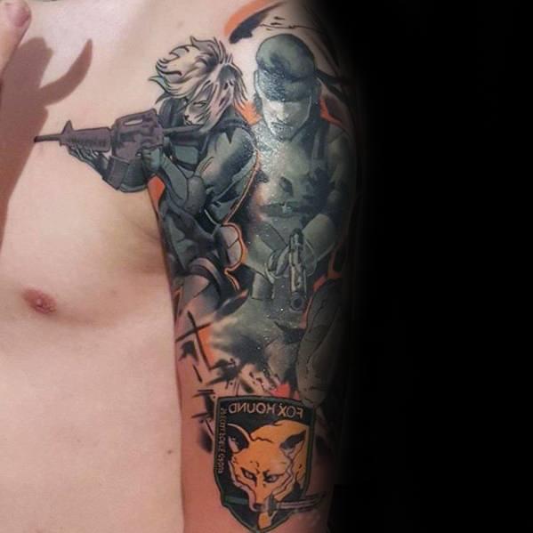Fox Hound Arm Metal Gear Tattoos For Gentlemen