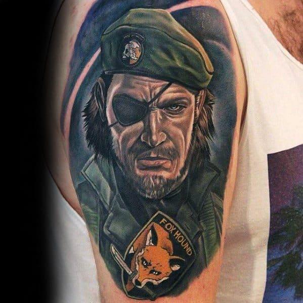 Fox Hound Half Sleeve Artistic Male Gamer Tattoo Ideas