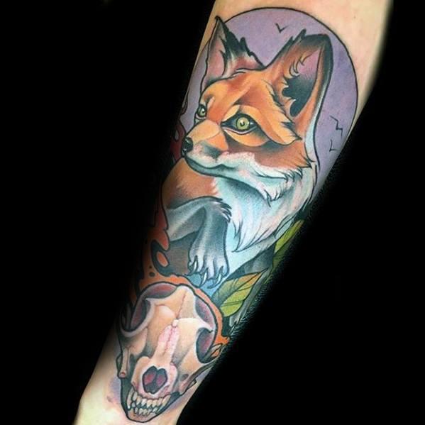 Fox Skull Mens Tattoo Designs