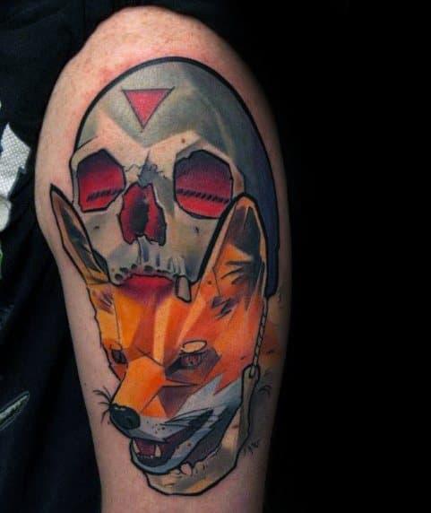 Fox Skull Mens Tattoo Ideas