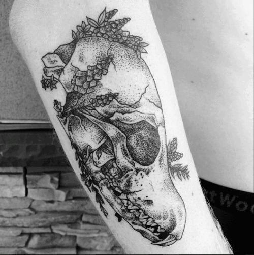 Fox Skull Tattoo Design On Man