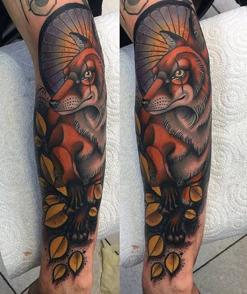 Fox With Fan And Leaves Tattoo Male Half Sleeve