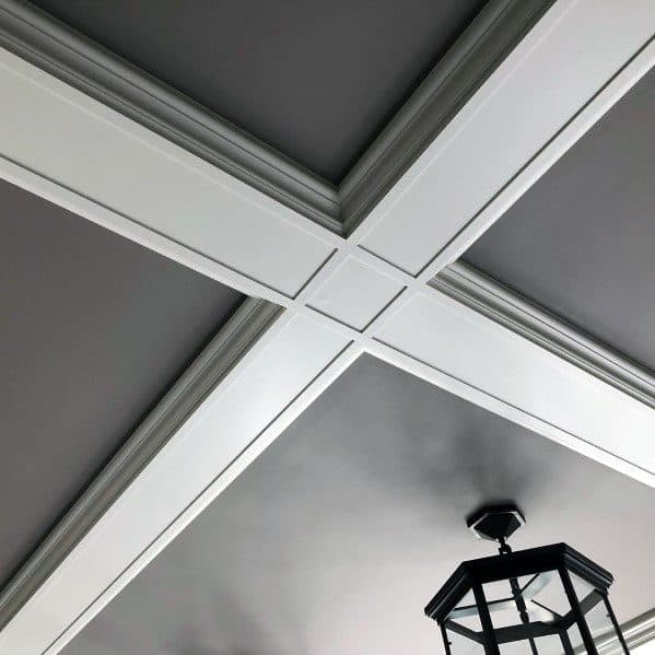 Foyer Grey And White Coffered Ceiling Design Ideas