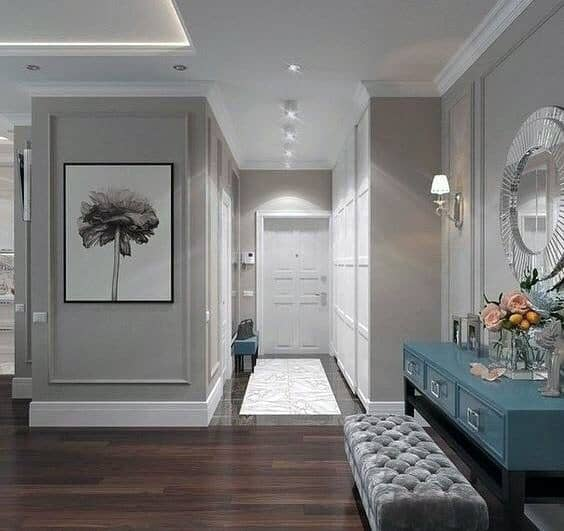 Foyer Home Interior Designs Crown Molding Lighting