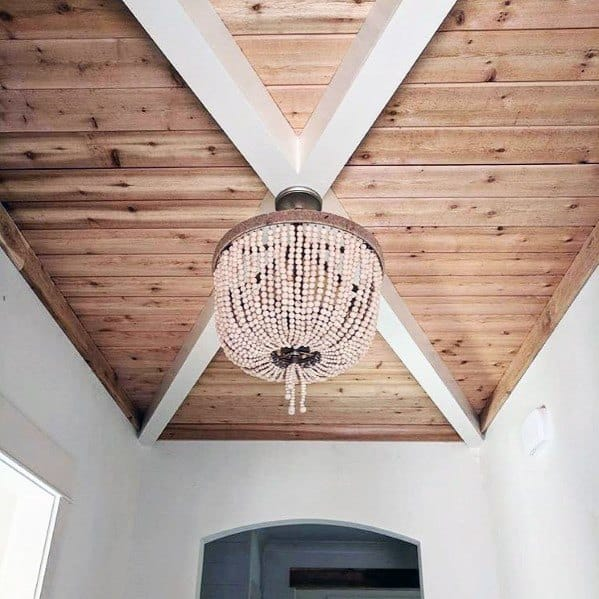Foyer Wooden Ceilings Ideas Plank Boards Unstained
