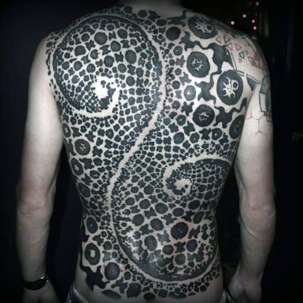 Fractal Artsy Mens Full Back Tattoo Ideas