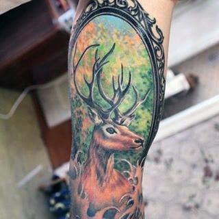 Framed Deer Tattoo For Men In Full Color On Arm