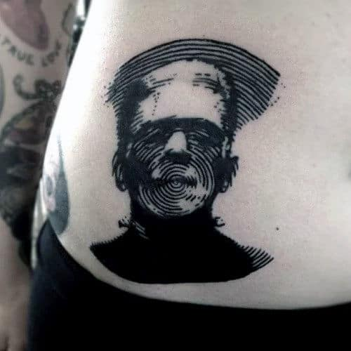 Frankenstein Fingerprint Mens Stomach Tattoo