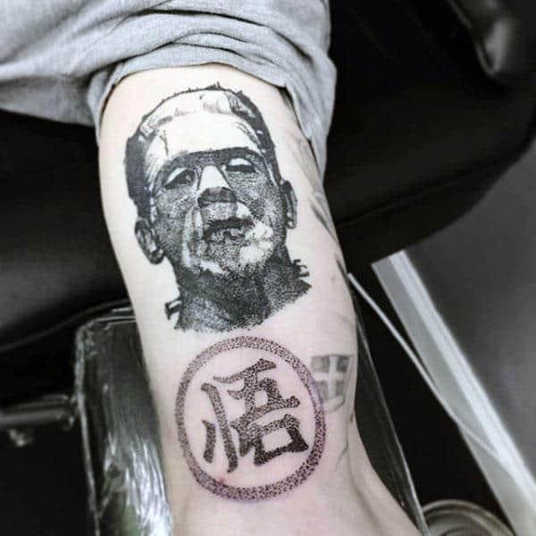 Frankenstein Pointillism Mens Arm Tattoo Ideas