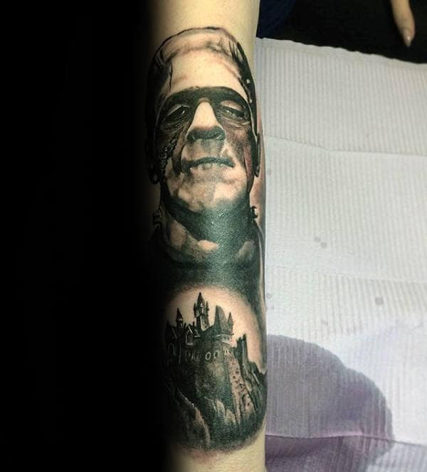 Frankenstein With Castle Mens Forearm Sleeve Tattoo